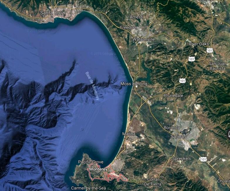 Vue satellite Baie de Monterey