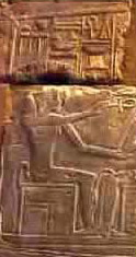 Anqet, Seated in a Shrine on a Barque, offering Life to a Seated Pharaoh
