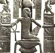 Heh Holding Two Palm Fronds, Seated on the Symbol for Gold and Holding the Ankh Sign of Life