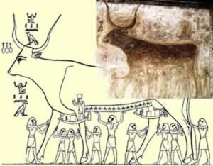 The Eight Heh Gods and Heh, Lifting Up Nut as the Heavenly Cow, from the Tomb of Seti I