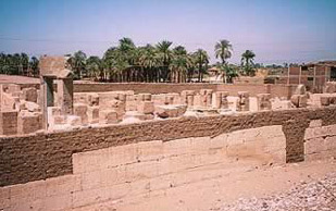 An overview of Ramesses II's Temple at Abydos from the side