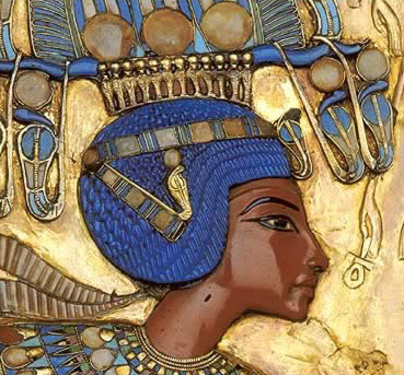 Tutankhamun from the  back of his gold throne