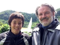 Father, son, and a dam fountain