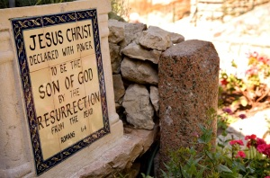 An inscription at the Garden Tomb, Jerusalem. Photo by Noam Chen smaller