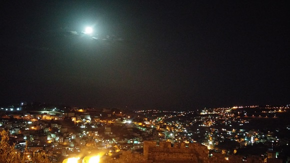 Touring Israel - jerusalem light festival 2015 the moon and east jerusalem by deena levenstein