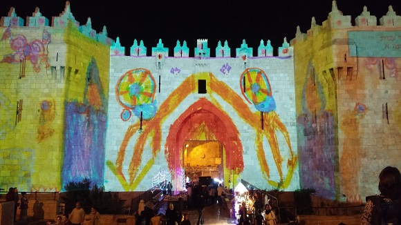 Touring Israel - new jerusalem light festival 2015 damascus gate childrens artwork