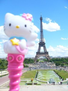 Touringkitty with the Eiffel Tower as her backdrop, during the Philippine Madrigal Singers European tour.