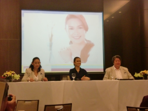 Insular Life execs and Lea answering questions from the press.