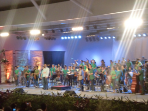Final photo from the other side of the amphitheater with their enthusiastic conductor, Olivier Ochanine