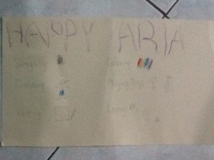 Aria's happiness folder filled with action words describing what makes her happy.