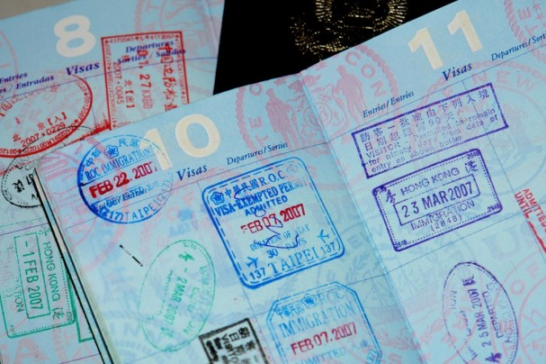 Picture show stamps on a passport