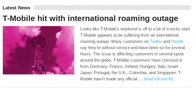 T-Mobile International Roaming outage. story on TmoNews.com