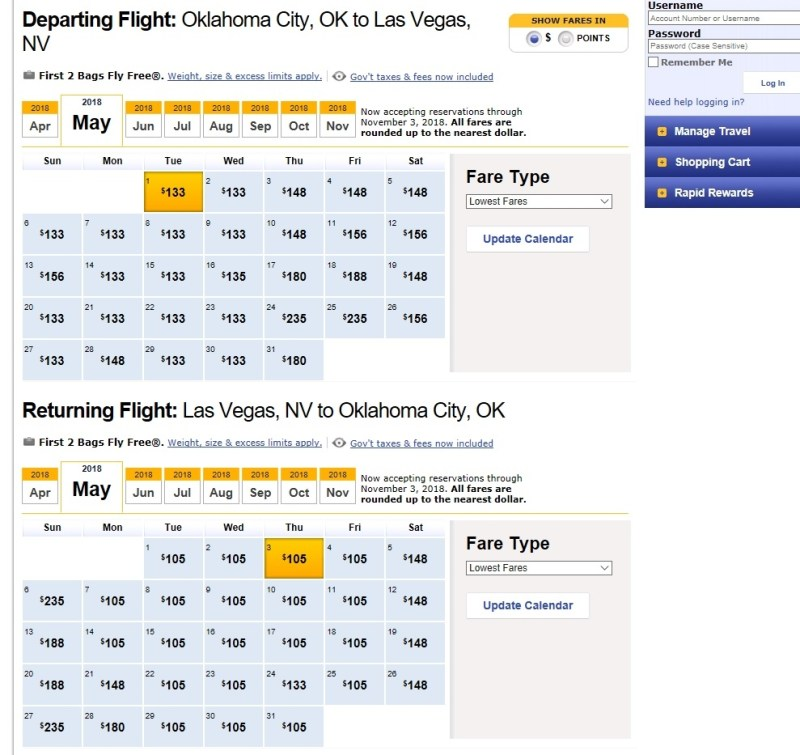 Southwest.com Search Example