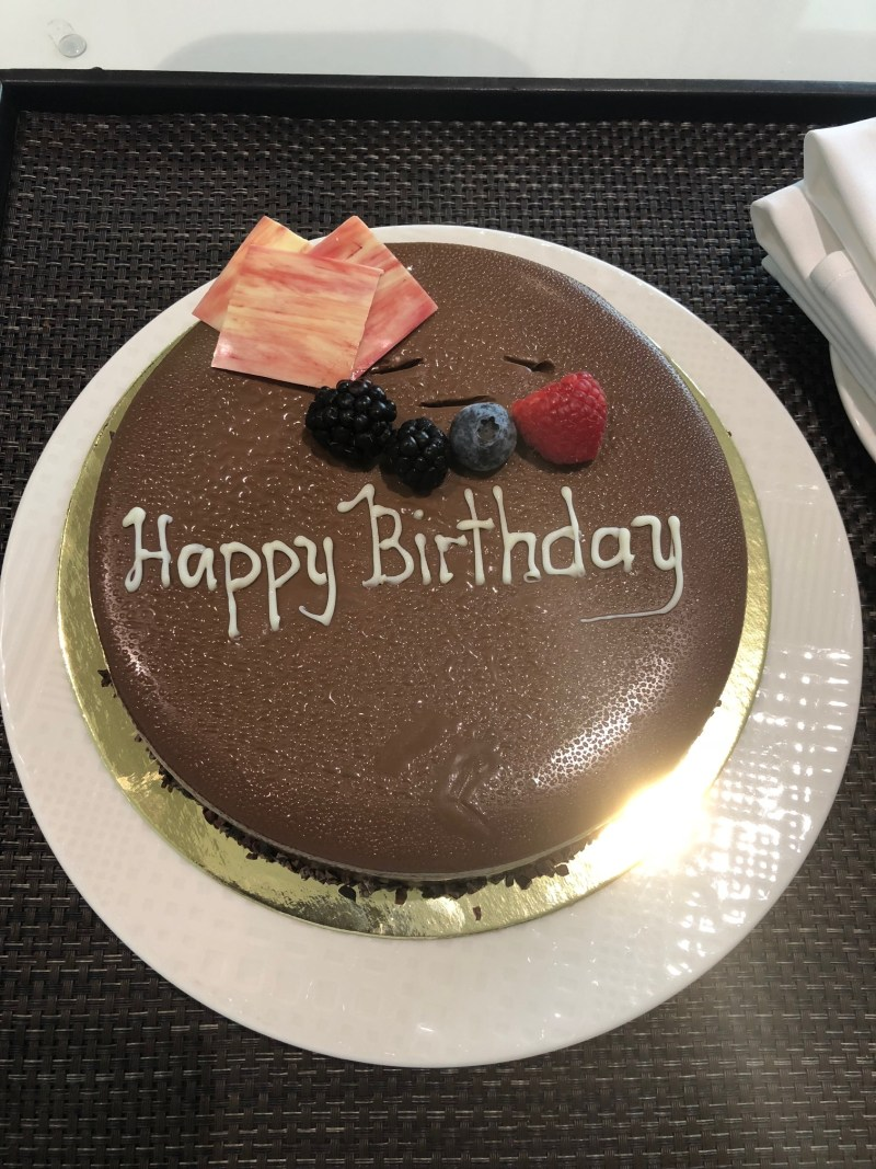 Vegan Birthday Cake made especially for me at The Le Meridien DXB Le Royal Club