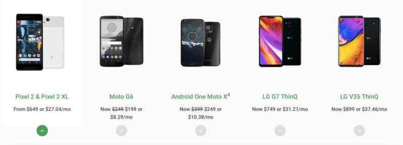 Google Fi Phone Options