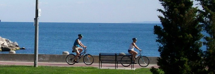 Cycling on waterfront