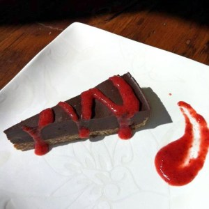 PP chocolate tort with raspberry coulis ns
