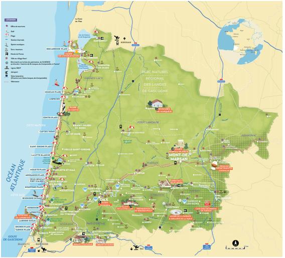 Carte Touristique des Landes (40) pour vos Vacances