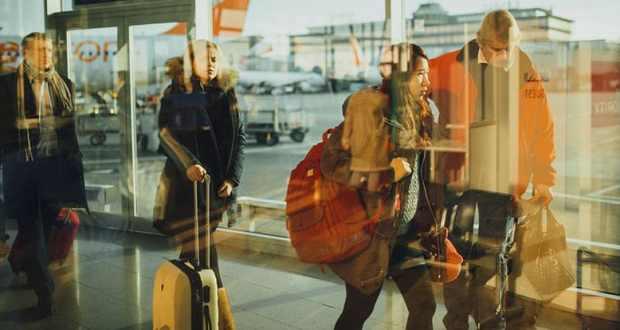 Passengers disembarking at an airport