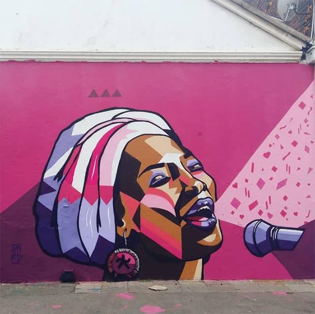Street Art graffiti of a female hip hop artist in Johannesburg by Nardstar