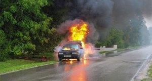 a car burning at roadside