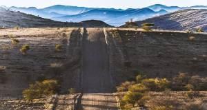 Dirt road through Namibia landscape