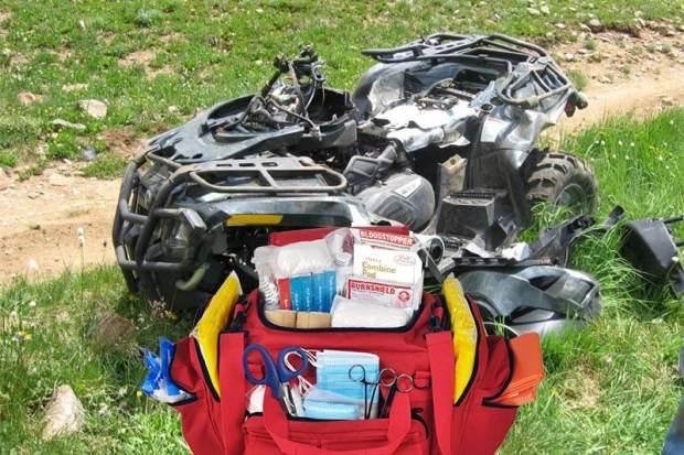 ATV crash with first aid bag