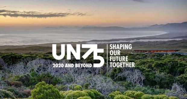 UN75 logo against Grootbos coastal background