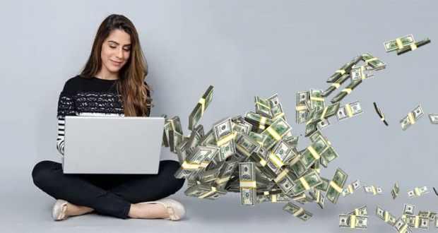 Woman Laptop Money