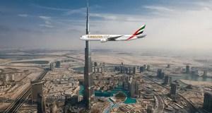 Emirates aircraft over Dubai