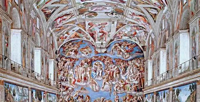 Vatikan Besichtigung Sixtinische Kapelle Rückseite Detail