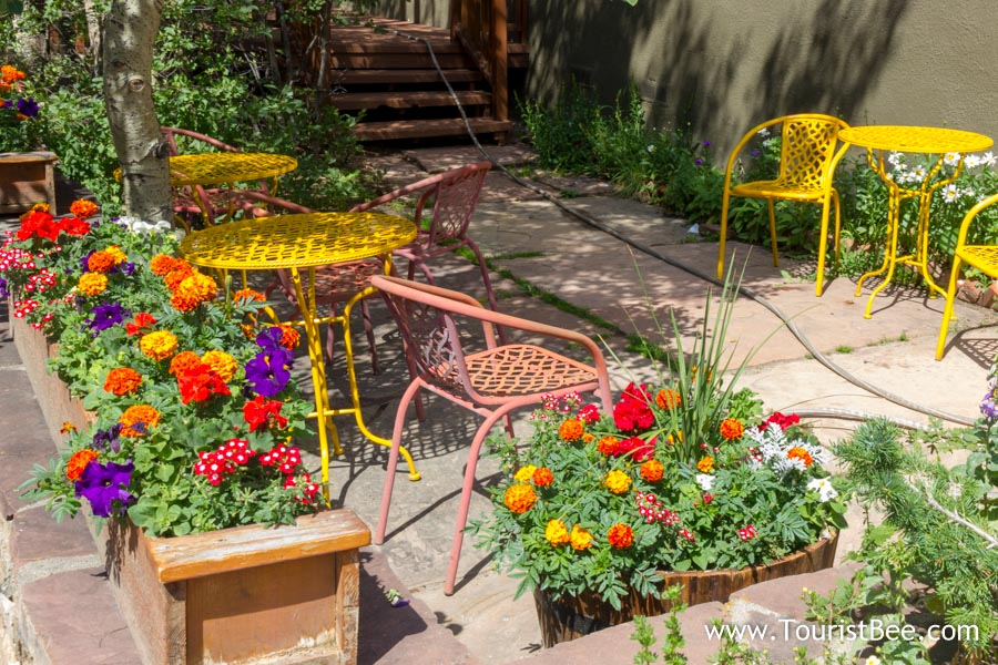 flowers and colorful patio furniture