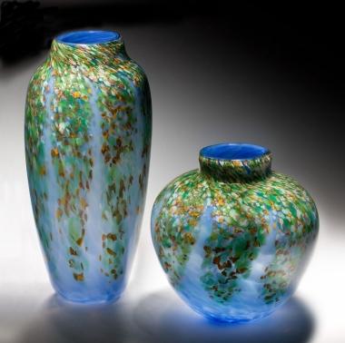 "Blown glass ""Wisteria"" vases"