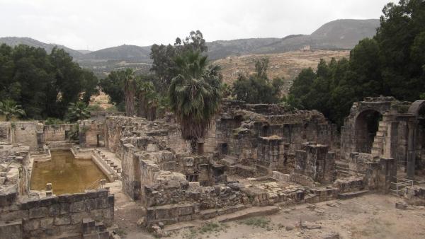 Ruins of the Roman hot spring at Hamat Gader