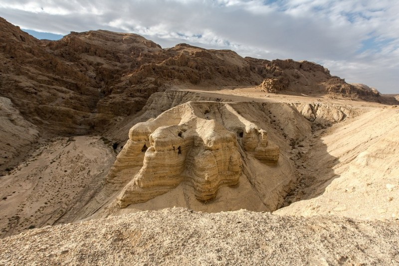The Caves At Qumran Where The Dead Sea Scrolls Were Found. Image Lex Moundi