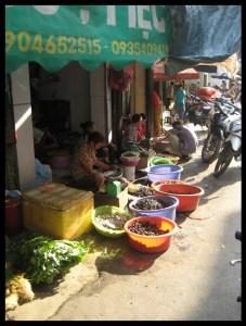 Vietnam, marché, rue, Hanoi, culture, poissons, voyage