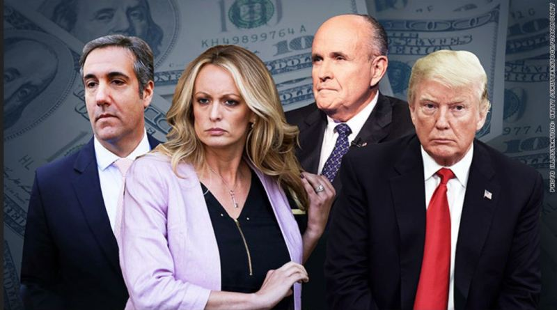 A group photo of former Trump lawyer Michael Cohen alongside Donald Trump, Stormy Daniels, and Rudy Giuliani