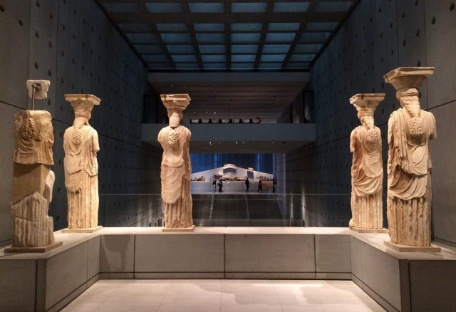 Caryatids at the New Acropolis Museum in Athens, Greece