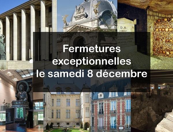 La liste des musées fermés à Paris, le samedi 8 décembre 2018, s'allonge - Crédit photo : compte Twitter @parismusees