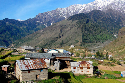 A great backdrop of the mountains with the village at the fore front.