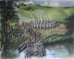 Artist's impression of bluestone henge discovered in September 2009.