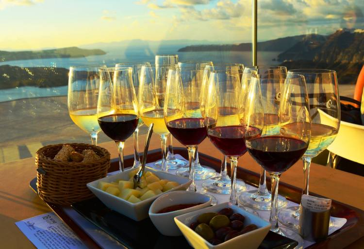 Flight of 12 Wines - Santo Wines Pyrgos Santorini