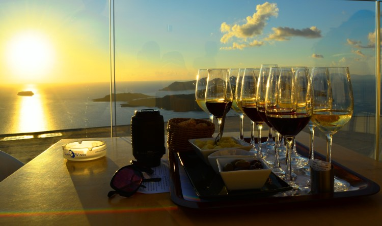 View of the Sunset at Santo Wines, Santorini!