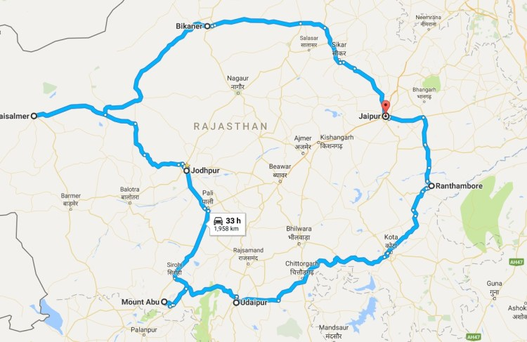Rajasthan Itinerary - Route