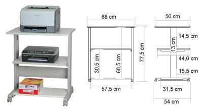 meuble pour poste imprimante roulettes blocables