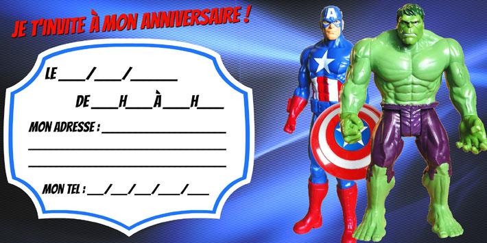 invitation anniversaire avengers gratuite