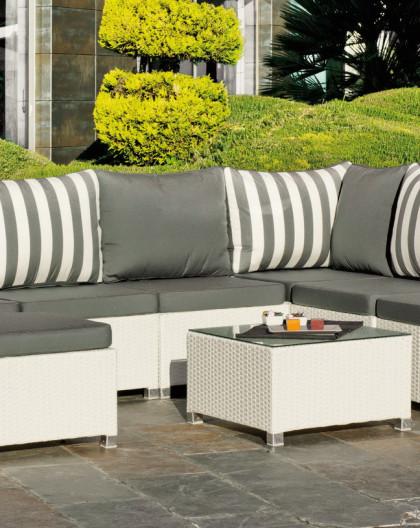 achat vente salon de jardin blanc confort de 7 places hevea mobilier de jardin