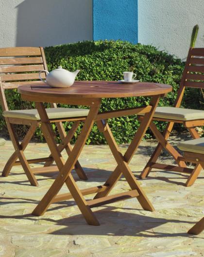 achat vente salon de jardin bois de sal table o90cm 4 chaises hevea mobilier de jardin