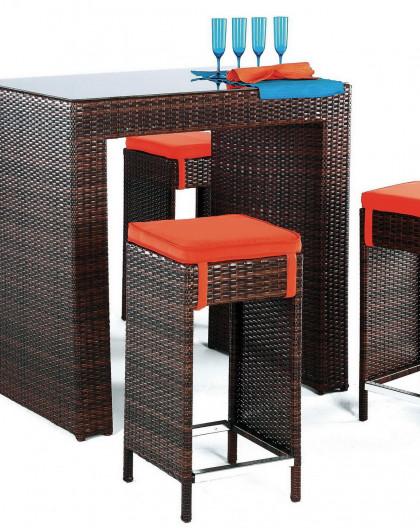 achat vente table bar de jardin avec 4 tabourets hevea mobilier de jardin