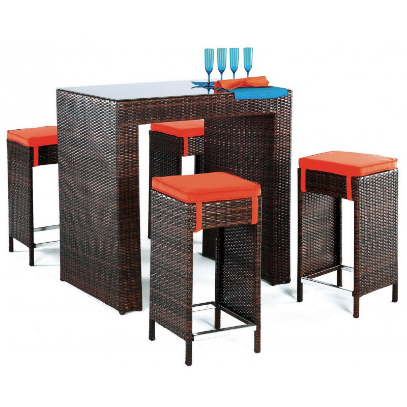 table bar de jardin avec 4 tabourets